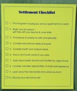 Checklist - Settlement