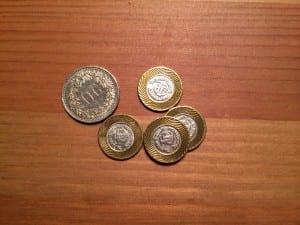 Coins (im Vergleich zu 20 Schweizer Rappen - winzig sind die!)