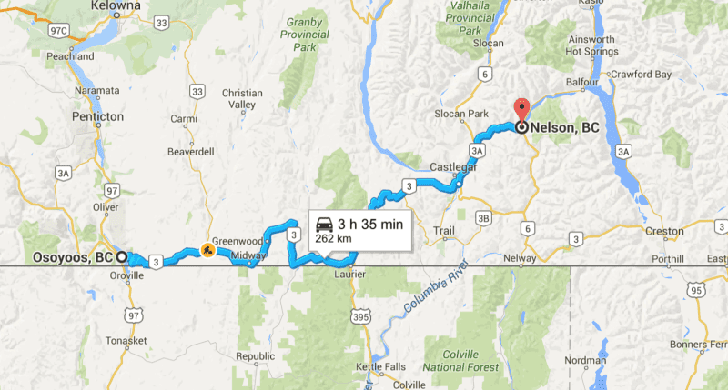 Trip Osoyoos to Nelson