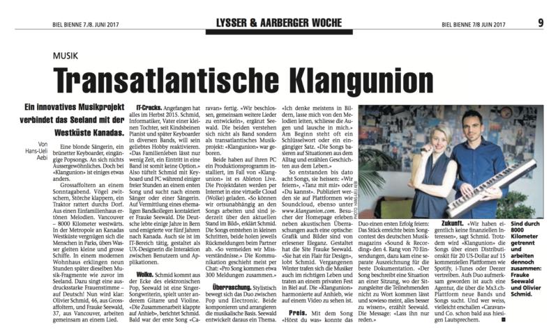 Artikel in Bieler Tageszeitung