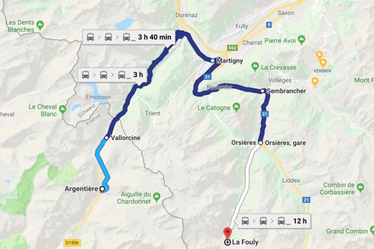 Route mit dem Zug